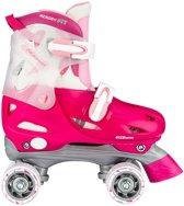 Nijdam Junior Rolschaatsen Junior Verstelbaar Hardboot Fuchsia Roze Zilver 34 37