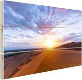 Woestijn tijdens zonsopkomst Hout 160x120 cm - Foto print op Hout (Wanddecoratie) XXL / Groot formaat!