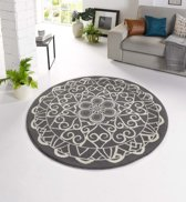 Modern vloerkleed rond Mandala - grijs 140x140 cm