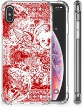 iPhone X   Xs TPU Hoesje Design Angel Skull Red