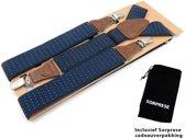 Luxe chique bretels – blauw met witte stip design – Sorprese – 3 extra stevige clips – met bruin leer – heren