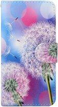 Leren wallet case - iPhone 6(s) - Witte Paardebloem - Blauw/Roze - Crazy Horse