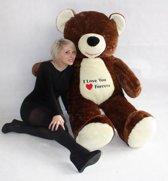 Gigantische teddebeer / knuffelbeer 170cm - Zachte pluche - I love you - Bruin