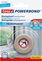 Tesa Powerbond montagetape transparant 1 5 m x 19 mm