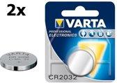 2 Stuks - Varta CR2032 230mAh 3V Professional Electronics Lithium batterij