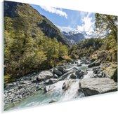 Rivier in het Nationaal park Mount Aspiring in Nieuw-Zeeland Plexiglas 80x60 cm - Foto print op Glas (Plexiglas wanddecoratie)