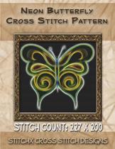 Neon Butterfly Cross Stitch Pattern