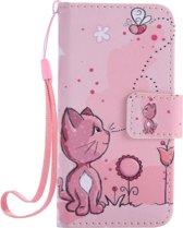 Apple Iphone 5 / 5S / SE Bookcase hoesje (katje, bloemetje, bijtje)