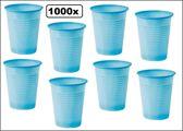 1000x Licht blauwe plastic beker