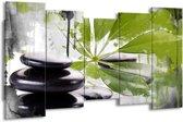 Canvas schilderij Spa | Groen, Zwart, Wit | 150x80cm 5Luik