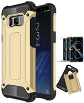 Teleplus  Samsung Galaxy S8 Double Layer Tank Cover Case Gold + Full Closure hoesje