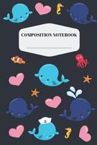 Whale Composition Notebook: Cute Whale Notebook for Elementary and Middle School - Pretty, Blue Whale Composition Journal for Girls to Write in -