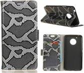 GSMWise - Motorola Moto G5 - Slangen Textuur Lederen Portemonnee Hoesje met Kaarthouder - Grijs
