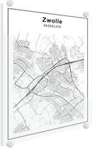 Stadskaart klein - Zwolle Plexiglas 30x40 cm - Plattegrond
