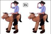 2x Rijdend op paard kostuum