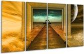 Glasschilderij Brug   Goud, Blauw, Grijs   160x80cm 4Luik   Foto print op Glas    F005955