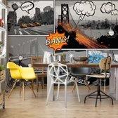Fotobehang City Comic Style | VEXXL - 312cm x 219cm | 130gr/m2 Vlies