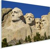 Het Noord-Amerikaanse monument Mount Rushmore met een donkerblauwe hemel Plexiglas 90x60 cm - Foto print op Glas (Plexiglas wanddecoratie)