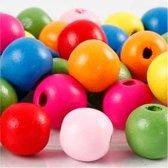 Houten kralen mix d: 12 mm gatgrootte 2 5-3 mm diverse kleuren 22gr circa 40 div