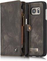 Caseme - Samsung Galaxy S7 Hoesje - Uitneembare Portemonnee Canvas Zwart