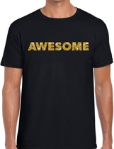 Awesome goud glitter tekst t-shirt zwart voor heren - heren verkleed shirts XL
