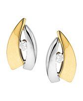 The Jewelry Collection Oorknoppen Zirkonia - Bicolor Goud