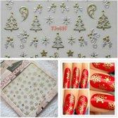 11 x Sheets Nail art Stickers Kerst 3D Goud & Zilver Metallic