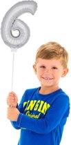 Mini Figuurballon Zilver Cijfer 6
