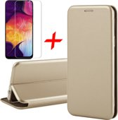 Samsung Galaxy A30s Hoesje + Screenprotector Case Friendly - Book Case Flip Wallet - iCall - Goud