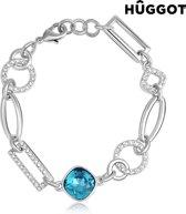 Hûggot Link Geplateerde rhodium armband met zirkonen, gemaakt met Swarovski® kristallen (18 cm)