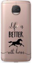 Motorola Moto G5S Plus Hoesje Life is Better with Horses