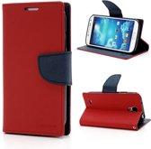 Mercury (Fancy Diary serie) book case hoesje - Magnetische sluiting en ruimte voor 2 pasjes - Rood kunststof - geschikt voor Samsung Galaxy S4
