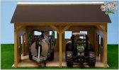 Kids Globe Houten Loods Voor 2 Tractoren