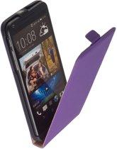 LELYCASE Lederen Flip Case Cover Hoesje HTC Desire 816 Lila