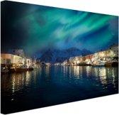 Noorderlicht boven haven in Noorwegen Canvas 30x20 cm - Foto print op Canvas schilderij (Wanddecoratie)