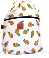 Rugtas Pineapples | T-Bags | 100% Katoen | 14 Liter | Wit & Oranje | Comfortabel