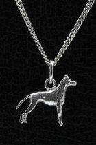 Zilveren Black and tan terrier ketting hanger - klein