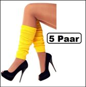 5x Paar Beenwarmers geel