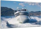 Glas schilderij Boot, Water | Grijs, Wit, Blauw | 120x70cm 1Luik | Foto print op Glas |  F007196