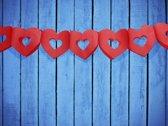 Slinger guirlande hartjes rood 3 meter
