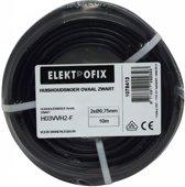 10 meter Elektrofix huishoudsnoer ovaal zwart, 2 x 0.75mm