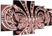 Schilderij | Canvas Schilderij Abstract | Bruin, Rood | 160x90cm 4Luik | Foto print op Canvas