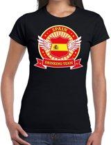 Zwart Spain drinking team t-shirt Zwart dames -  Spanje kleding S