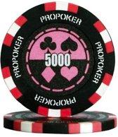 Pokerchip Pro Poker Clay Chip 13,5 Gram Roze 5000 Per 25