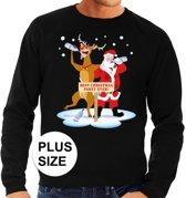 Grote maten foute kersttrui / sweater dronken kerstman en rendier Rudolf na kerstborrel/ feest zwart voor heren - Kersttruien