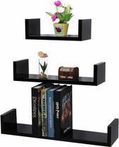 Set van 3 Boekenplanken – U-vormige Wandplank – Zwart