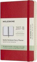 Moleskine 18 Months Weekly Planner 2017/2018 - Pocket - Scarlet Red - Soft Cover