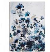 Art for the Home - Canvas Schilderij - Bloemen - Blauw - 70x100 cm