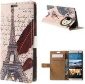 Eiffel Tower Quill Pen Wallet Case HTC One M9