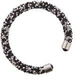 Zwart met zilveren bangle met kristallen.